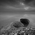 Dead Sea Sunrise Black And White by David Morefield