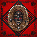 Dean Gle Mask By Dan People Of The Ivory Coast And Liberia On Red Leather by Serge Averbukh