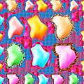 Deco Pattern Patchup Collage Crystals Jewels Rose Flower Petals by Navin Joshi