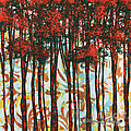 Decorative Abstract Floral Bird Landscape Painting Forest Of Dreams II By Megan Duncanson by Megan Duncanson