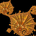 Decorative Golden Floral Fractal Leaves by Matthias Hauser