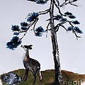 Deer And Pine by Sibby S