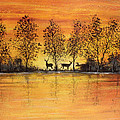Deer At Sunset-2 by Jean Plout