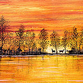 Deer At Sunset by Jean Plout