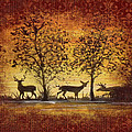 Deer At Sunset On Damask by Jean Plout
