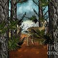 Deer In Pine Forest by Nancy Long