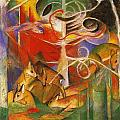 Deer In The Forest 1913 by Franz Marc