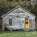 Defiant Yellow Door - Square by Terry Rowe
