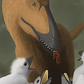 Deinonychus Dinosaur Feeding Its Young by Michele Dessi