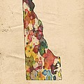 Delaware Map Vintage Watercolor by Florian Rodarte
