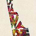 Delaware Typographic Watercolor Map by Inspirowl Design