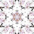 Delicate Cherry Blossom Fractal Kaleidoscope by Kathy Clark