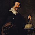 Democritus, Or The Man With A Globe Oil On Canvas by Diego Rodriguez de Silva y Velazquez