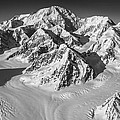 Denali And The Kahiltna Glacier Black And White by Alasdair Turner