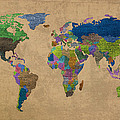 Denim Map Of The World Jeans Texture On Worn Canvas Paper by Design Turnpike