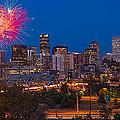 Denver Skyline Fireworks by Steve Gadomski