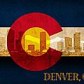 Denver Skyline Silhouette Of Colorado State Flag Canvas by Design Turnpike