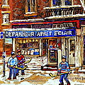 Depanneur Arret Eclair Verdun Rue Wellington Montreal Paintings Original Hockey Art Sale Commissions by Carole Spandau
