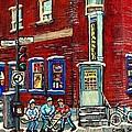 Depanneur Centre Pointe St Charles Montreal Verdun Paintings Hockey Art City Scenes Cspandau by Carole Spandau