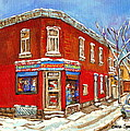 Depanneur Surplus De Pain Point St Charles Montreal Winterscene Paintings Cspandau Originals Prints  by Carole Spandau
