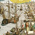 Departure From Lisbon For Brazil by Theodore de Bry
