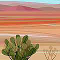 Desert, Cactus Brush, Mountains In by Charles Harker