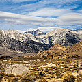 Desert View Of Majestic Mount Whitney Mountain Peaks With Clouds by Jerry Cowart