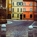 Deserted Street With Colored Houses In Parma Italy by Silvia Ganora