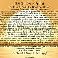 Desiderata Poem On Golden Sunset by Desiderata Gallery