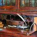 Desk With Quill And Books by Susan Savad