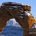 Detail Of Delicate Arch With Snow Arches National Park Utah by Jason O Watson