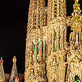 Detail Of La Sagrada Familia At Night - Gaudi by Weston Westmoreland
