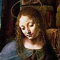 Detail Of The Head Of The Virgin by Leonardo Da Vinci