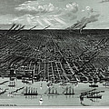 Detroit Aerial View 1889 by Compass Rose Maps