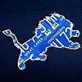 Detroit Lions Football Team Retro Logo License Plate Art by Design Turnpike