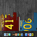 Detroit Michigan City Skyline License Plate Art The Motor City by Design Turnpike