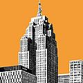 Detroit Skyline 2 - Orange by DB Artist