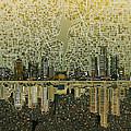 Detroit Skyline Abstract 4 by Bekim Art
