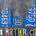 Detroit The Motor City Skyline License Plate Art On Gray Wood Boards  by Design Turnpike