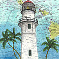 Diamond Head Lighthouse Hi Nautical Chart Map Art by Cathy Peek