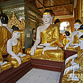 different sitting Buddhas in a circle in SHWEDAGON PAGODA by Juergen Ritterbach