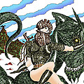 Digital Dragon Rider Colour Version by Grant  Wilson