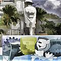 Digital Oil Painting - Statue Of The Merlion With A Banner Below The Statue And With Bu by Ashish Agarwal