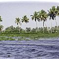 Digital Oil Painting - Water Rippling In The Coastal Lagoon Due To The Boat by Ashish Agarwal
