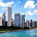 Digitial Painting Of Downtown Chicago Skyline by Paul Velgos