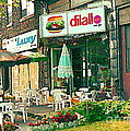 Dilallo Burger Diner Paintings Originalclassic Vintage Burger Joint St Henri St Catherine Cityscene  by Carole Spandau