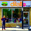 Dilallo Burger Notre Dame Ouest And Charlevoix  Montreal Art Urban Street Scenes Carole Spandau by Carole Spandau