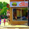 Dilallo Notre Dame Ouest And Charlevoix Sunny Street Montreal Urban City Scene Carole Spandau by Carole Spandau