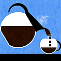 Diner Coffee Pot And Cup Blue Pouring by Andee Design
