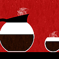 Diner Coffee Pot And Cup Red by Andee Design